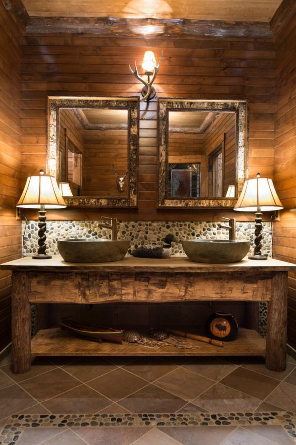 holz im badezimmer accessoires kiesel waschbecken - Holz Im Badezimmer