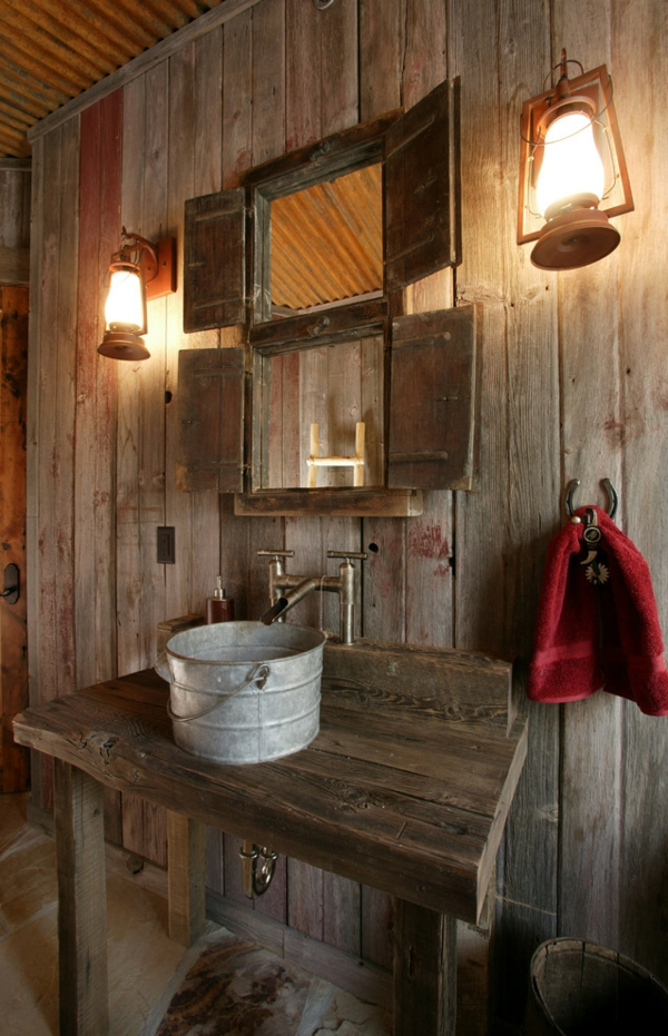 Accessoires Tuch Holz Badezimmer Rot