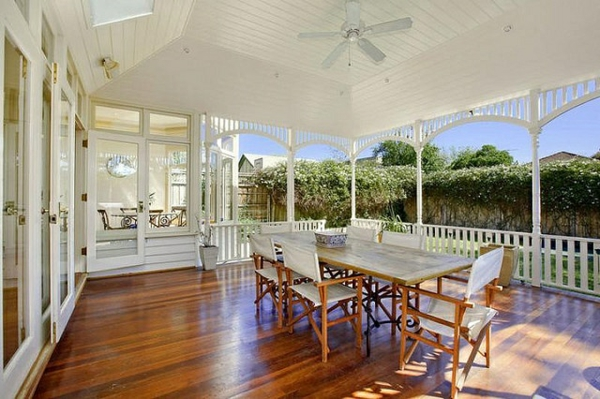 Elegant Holz Terrasse Einrichten Veranda Bauen Amerikanische Holzhäuser Esszimmer