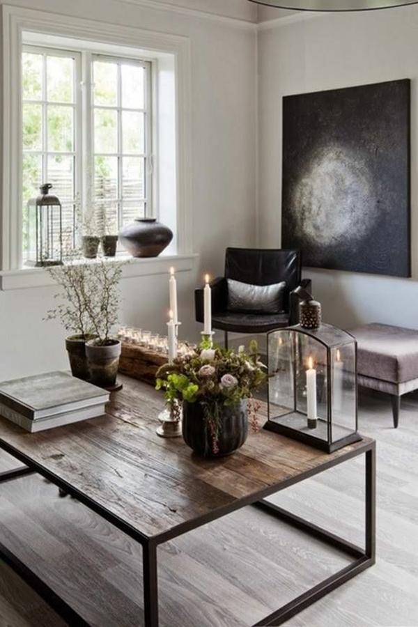 holzbalken wohnzimmer rustikal wohnzimmermöbel holz couchtisch kolonial kerzen