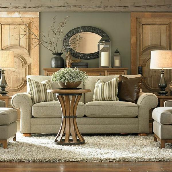 holzbalken wohnzimmer rustikal wohnzimmermöbel holz couchtisch rund sofa