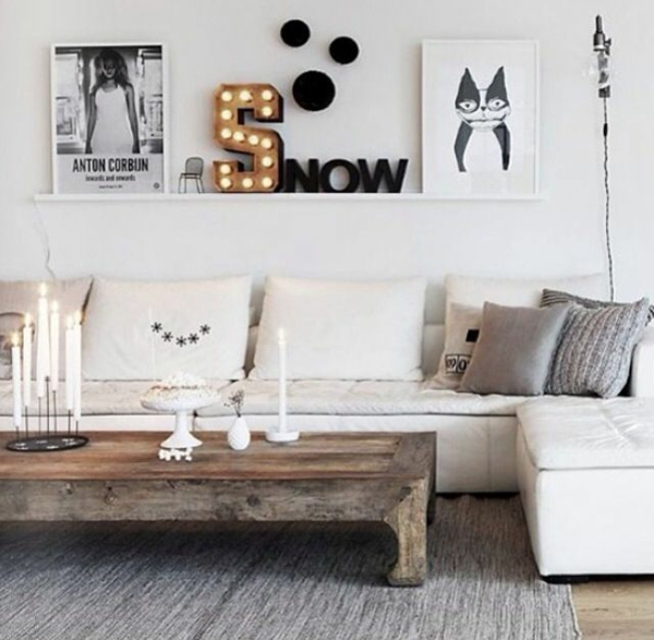 holzbalken wohnzimmer rustikal wohnzimmermöbel holz couchtisch