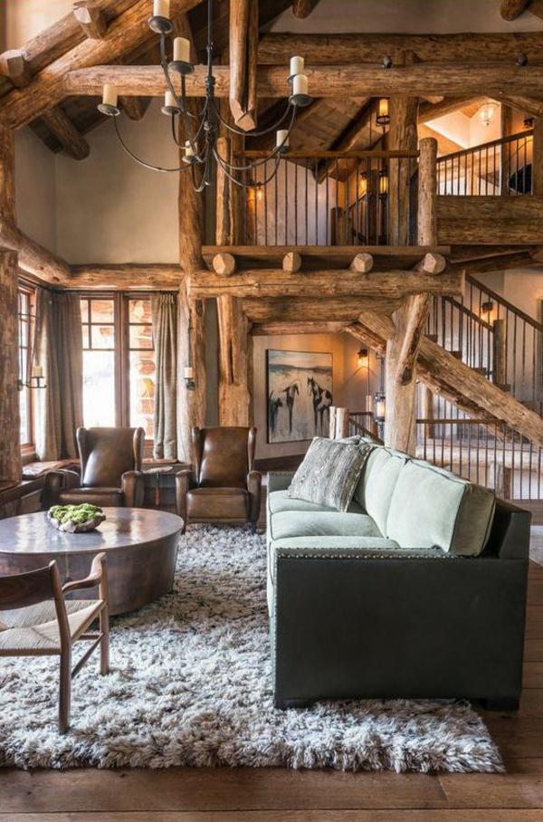 holzbalken wohnzimmer rustikal wohnzimmermöbel holzboden