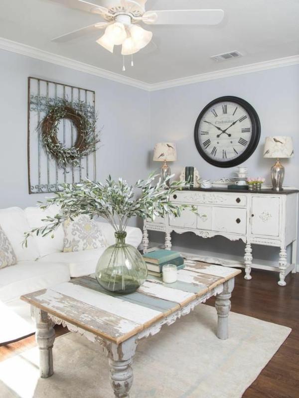 holzbalken wohnzimmer rustikal wohnzimmermöbel shabby shic stil