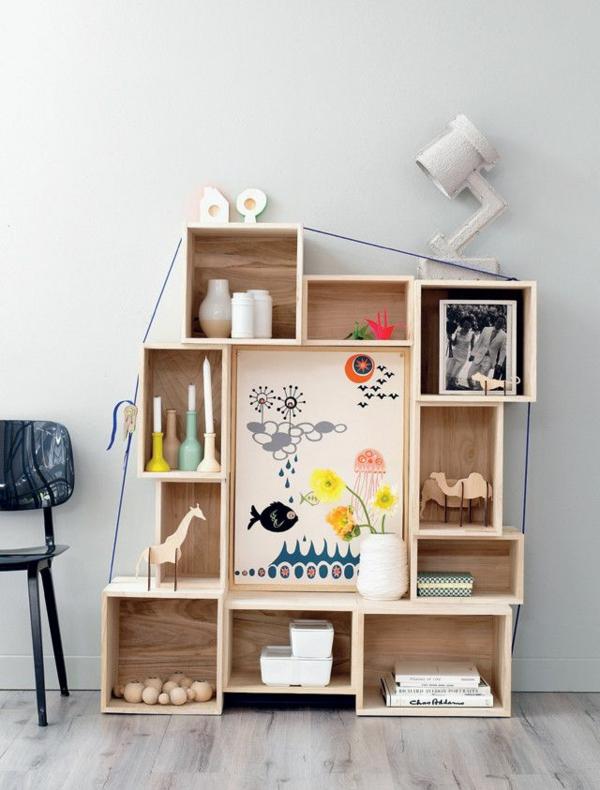 holz regale bauen bodenregal kinderzimmer möbel dekoartikel