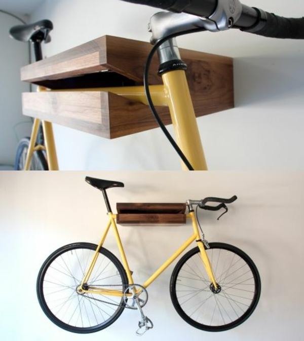 holzregal wandregal fahrrad abstellen aufbewahren platzsparende ideen