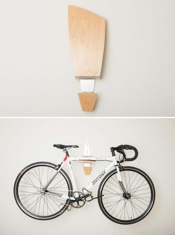 holzregal wandregal fahrrad abstellen aufbewahrungsideen platzsparende ideen