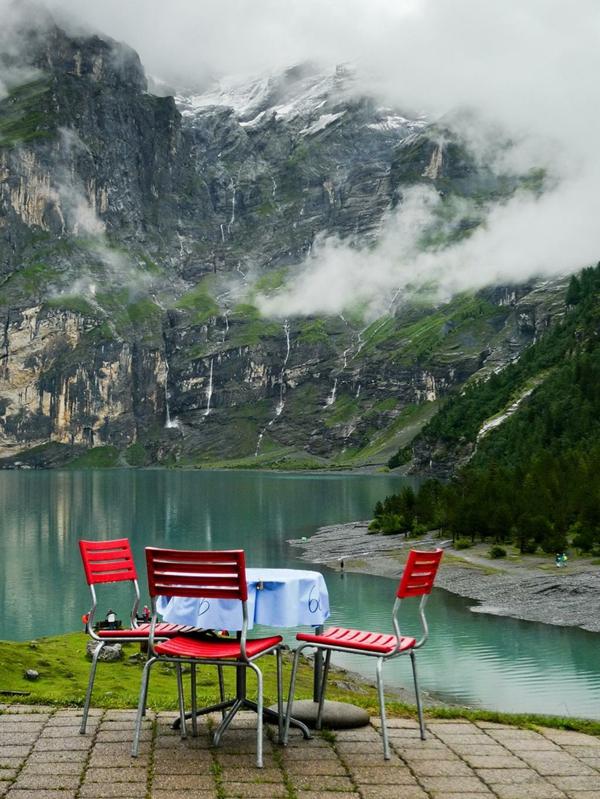 hotel gebirge nebel restaurant öschinensee schweiz
