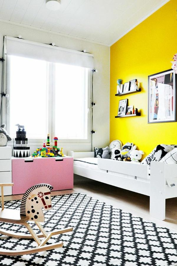Kinderzimmer Gestaltung Idee : kinderzimmer gestaltung akzentwand zitronengelb