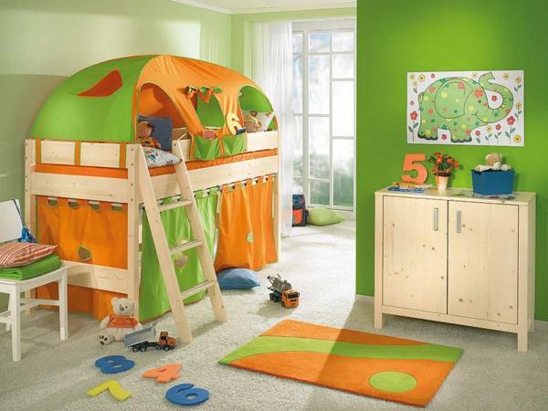 idee kinderzimmer gestaltung etagenbett orange grün