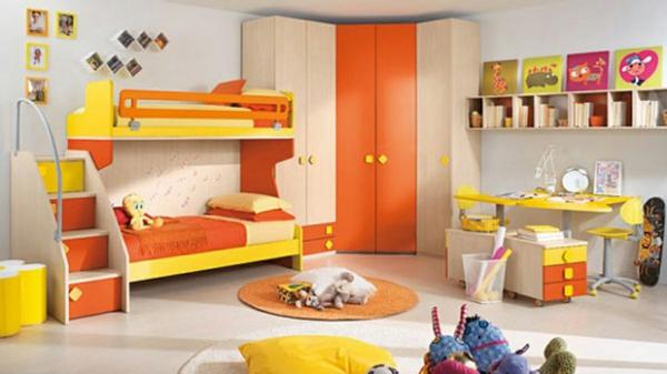 idee kinderzimmer gestaltung gelb orange etagenbett