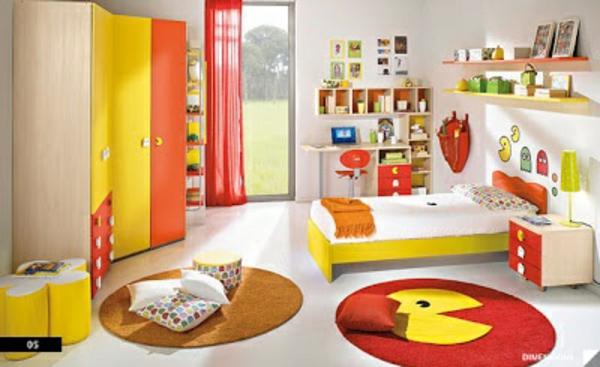 idee kinderzimmer gestaltung gelb orange