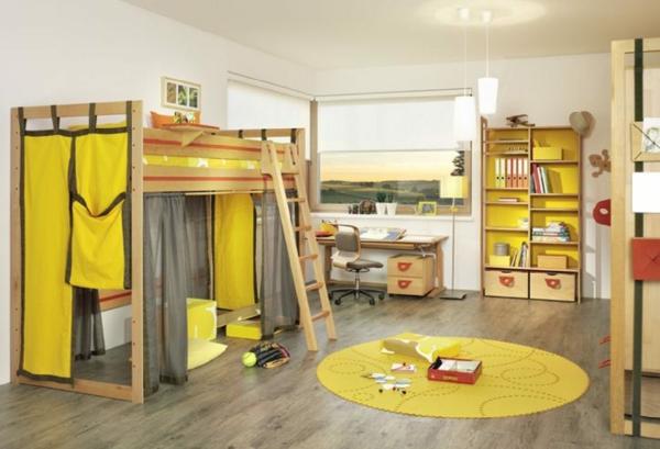 idee kinderzimmer gestaltung gelbe vorhänge teppich
