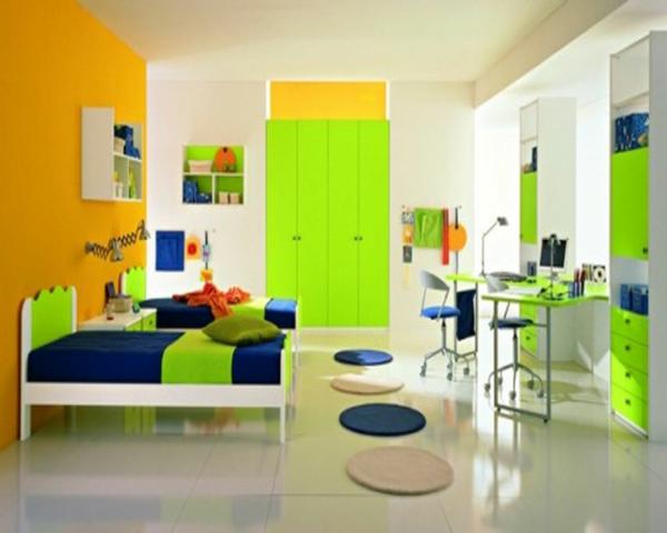 idee kinderzimmer gestaltung grelles grün dunkles blau