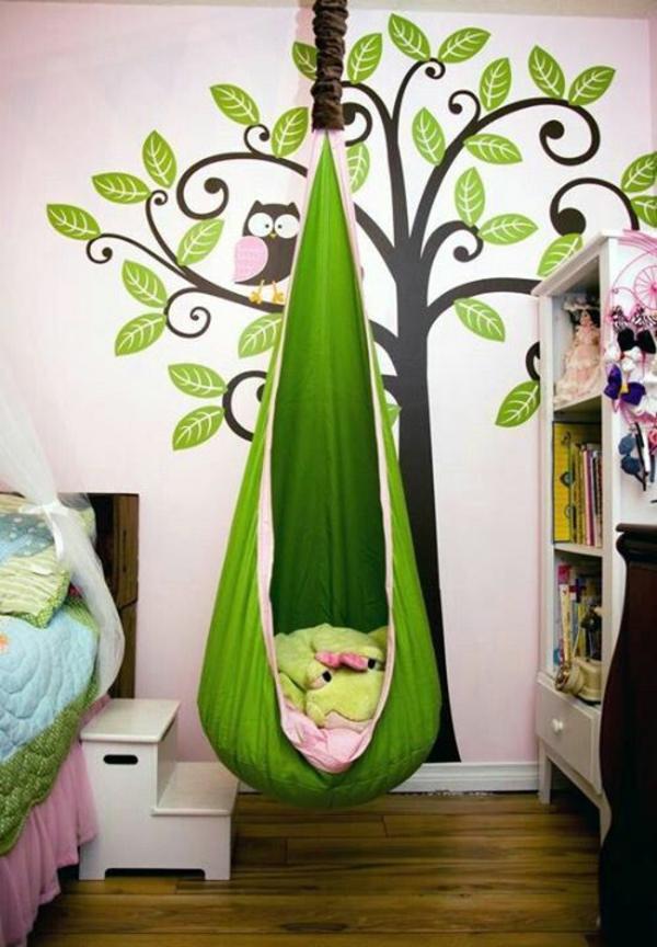 idee kinderzimmer gestaltung hängesitz grün