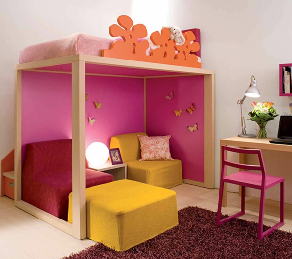Kinderzimmer Gestaltung Idee : idee kinderzimmer gestaltung hochbett schmetterlinge