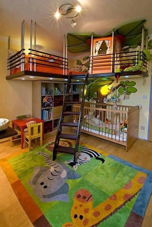 Kinderzimmer Gestaltung Idee : idee kinderzimmer gestaltung etagenbett dschungel