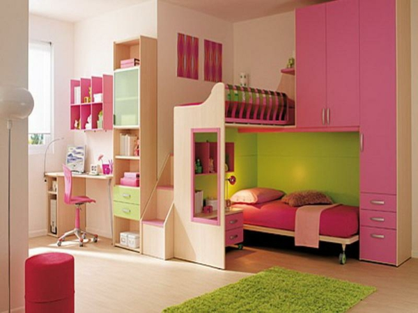 idee kinderzimmer gestaltung lindgrün rosa