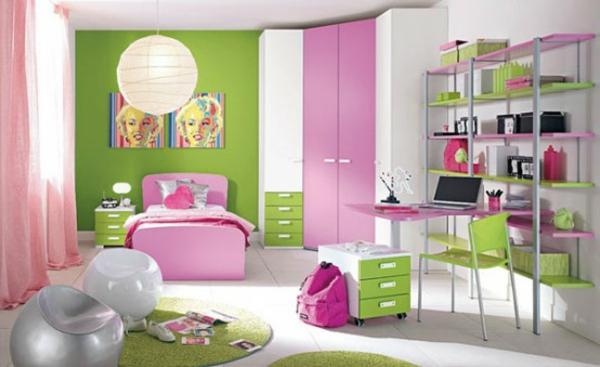 idee kinderzimmer gestaltung minzgrün rosa