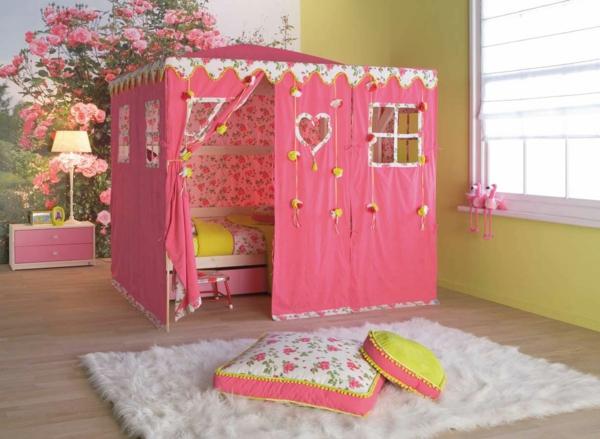 idee kinderzimmer gestaltung rosenmotiv pink zelt