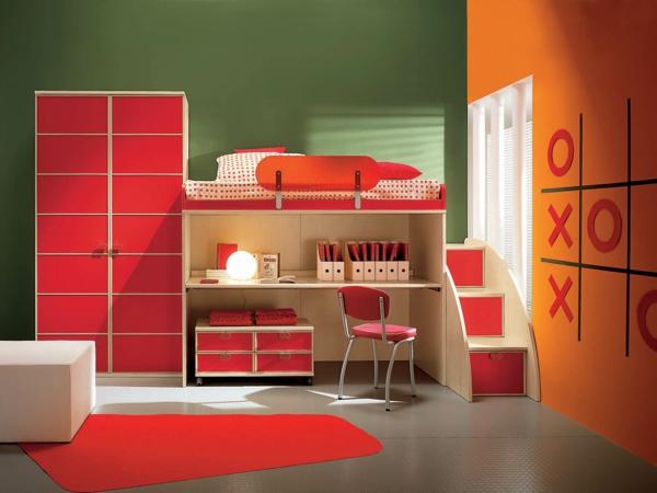 idee kinderzimmer gestaltung rot orange