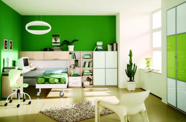 idee-kinderzimmer-gestaltung-teenager-grün