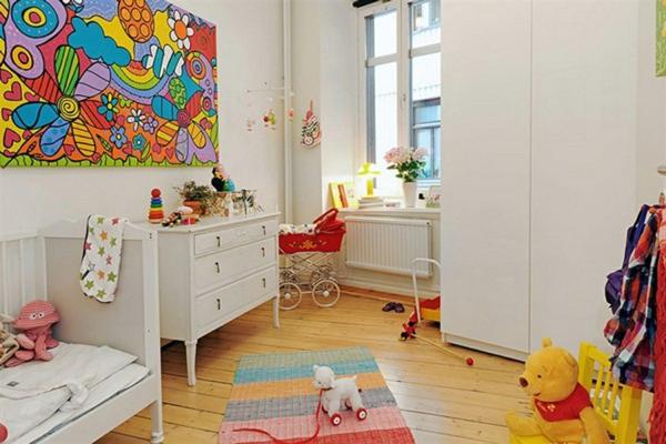idee kinderzimmer gestaltung wandbild grelle farben