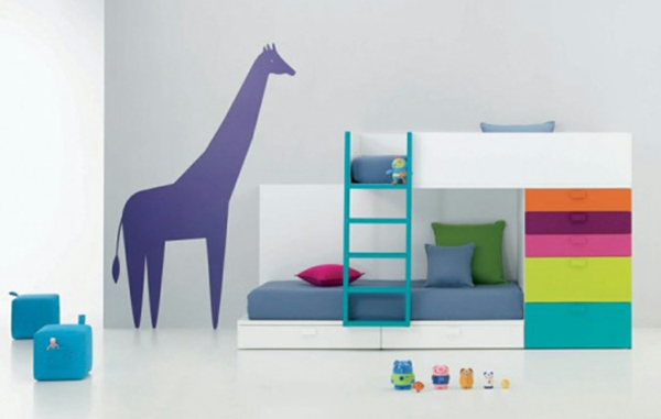 idee kinderzimmer gestaltung wandtattoo giraffe