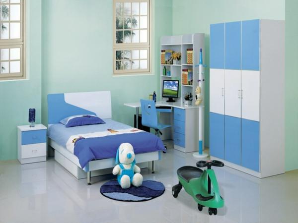 idee kinderzimmer gestaltung weiß blau