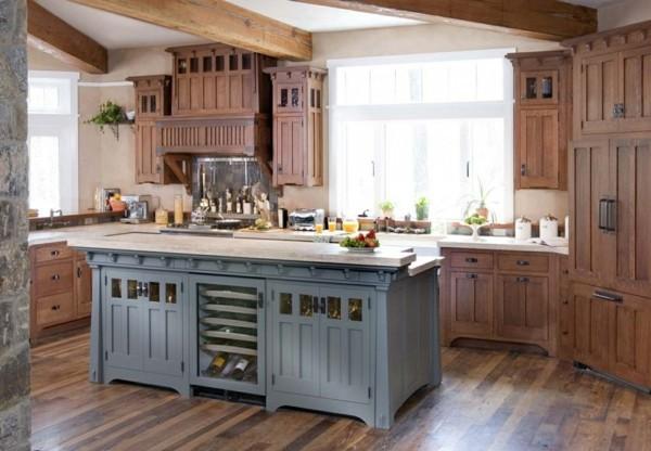 küche mit kochinsel in blau schöne landhausküche