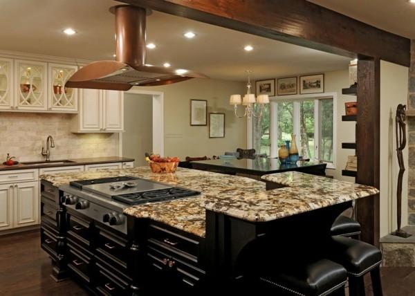 küche mit kochinsel in schwarz mit vielen schubladen