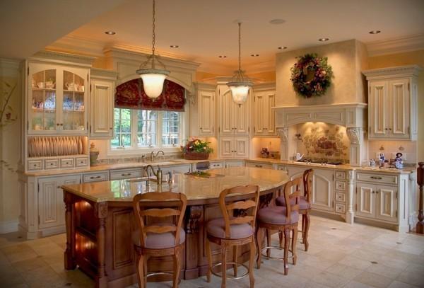 küche mit kochinsel kücheninsel mit moderner form und helle bodenfliesen