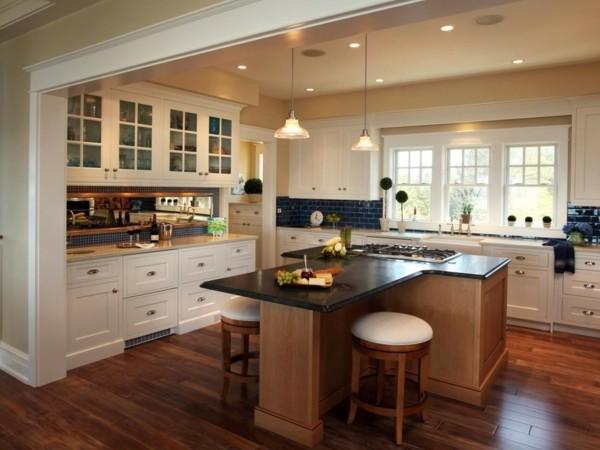 küche mit kochinsel moderne form und trendige farben