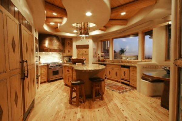 küche mit kochinsel schöne form und ausgefallene beleuchtung