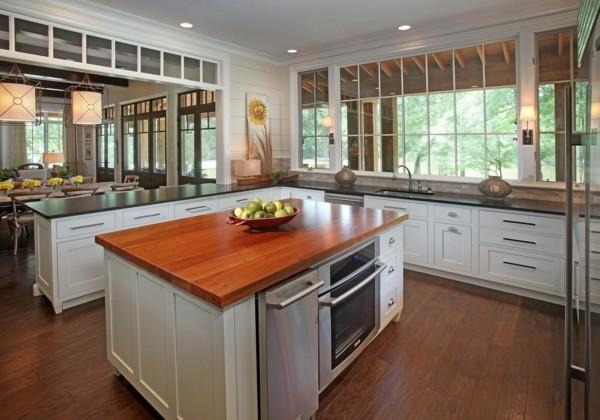 küche mit kochinsel in industriellem stil