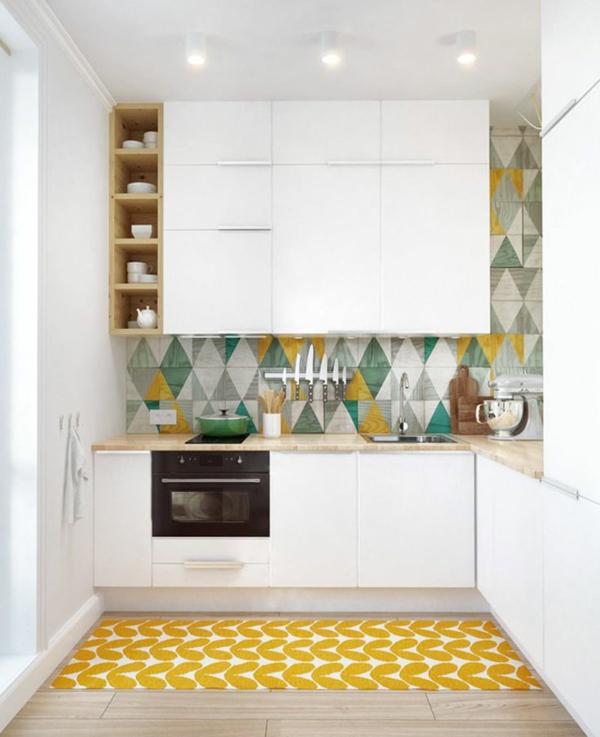 küchenfliesen wand fliesen farben grün gelb rückwand küche