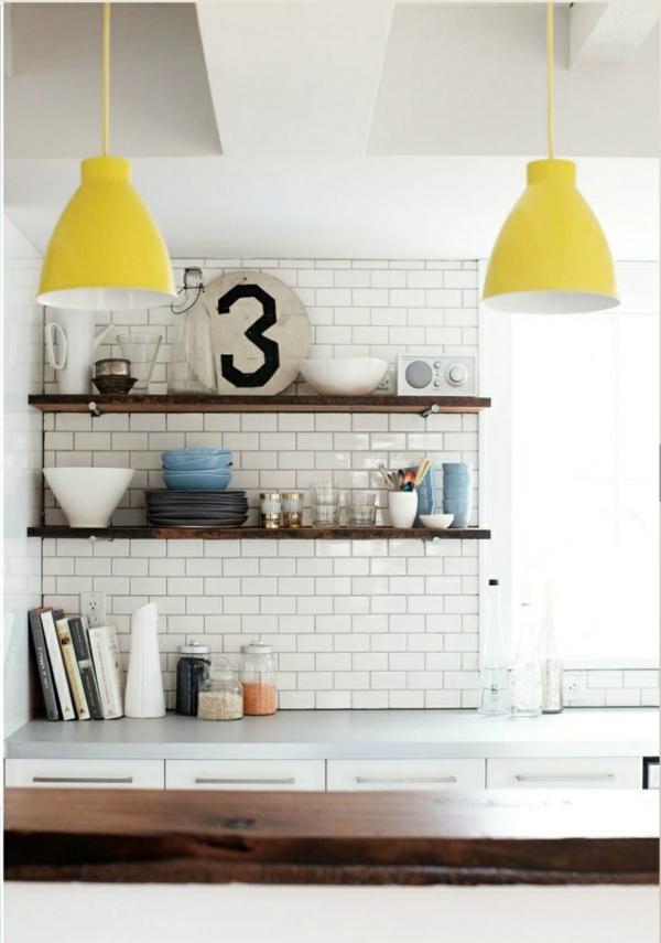 küchenideen esszimmer einrichten pendelleuchten gelb