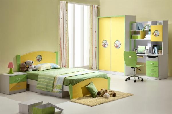 kinderzimmer farbgestaltung wandfarben palette gelb grün