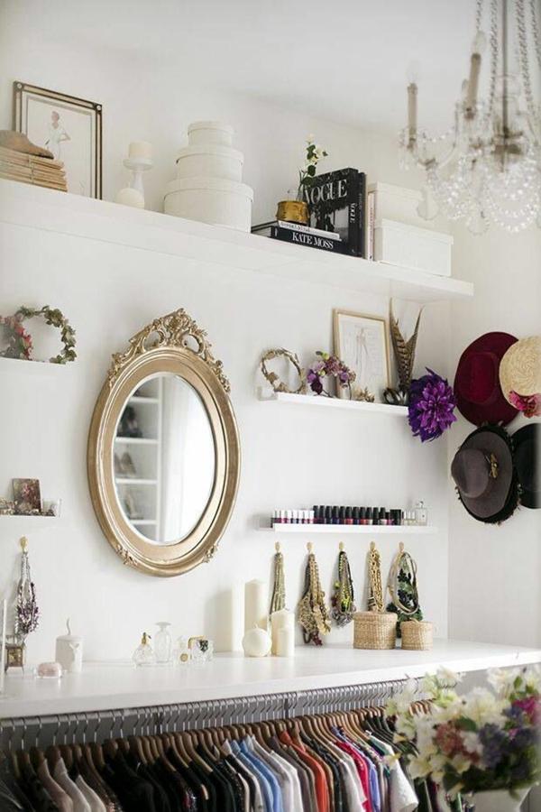 offen ankleidezimmer kleiderschrank luxus spiegel golden
