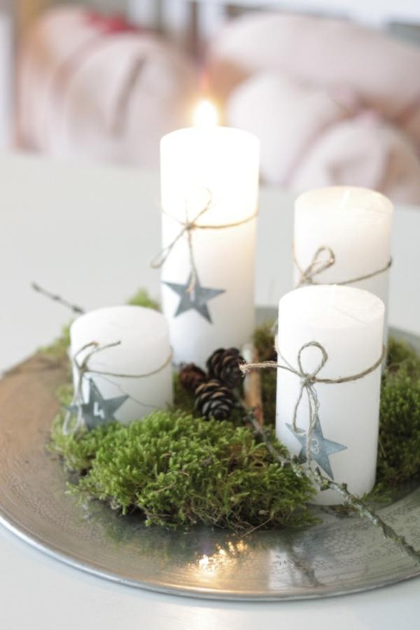 kranz weihnachten kerzen weihnachtsdeko selber basteln tischdeko