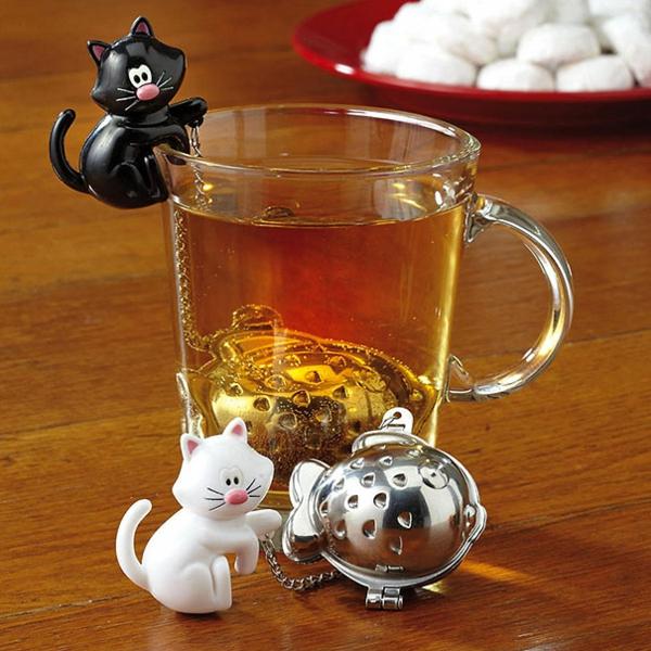 kreative Dekoideen fisch Teeei katzen figuren