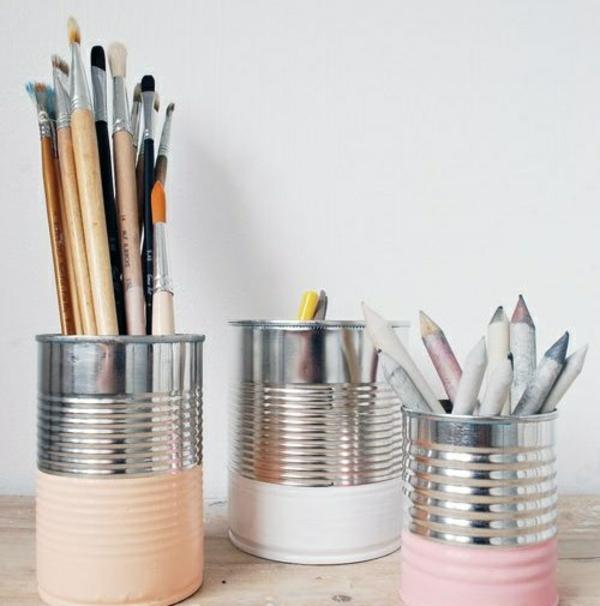 kreative bastelideen do it yourself ideen farbdosen aufbewahrungsdosen pinseln