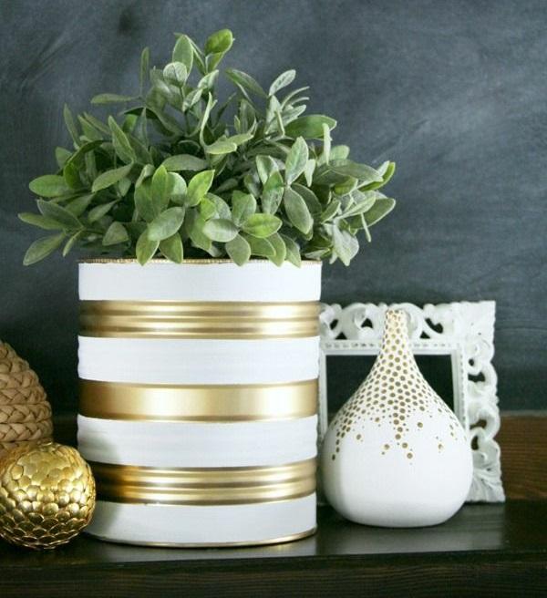 kreative bastelideen do it yourself ideen farbdosen blumentopf zimmerpflanzen