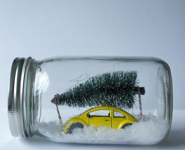 kreativebastelideen do it yourself ideen schneekugel tanne auto