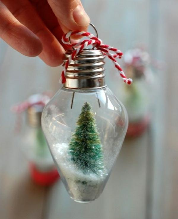 kreative bastelideen do it yourself ideen schneekugel tanne glühbirne
