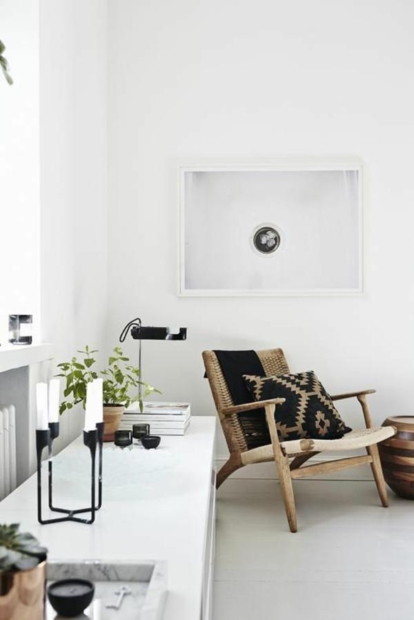 landhausstil wohnzimmer modern einrichten flechtmöbel stuhl