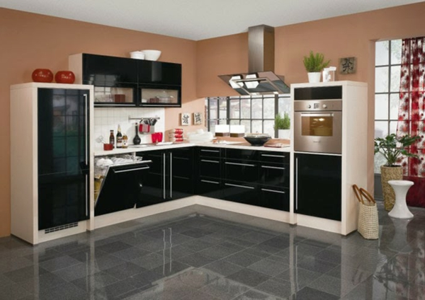 metod küchen hochglanz schwarz granit boden