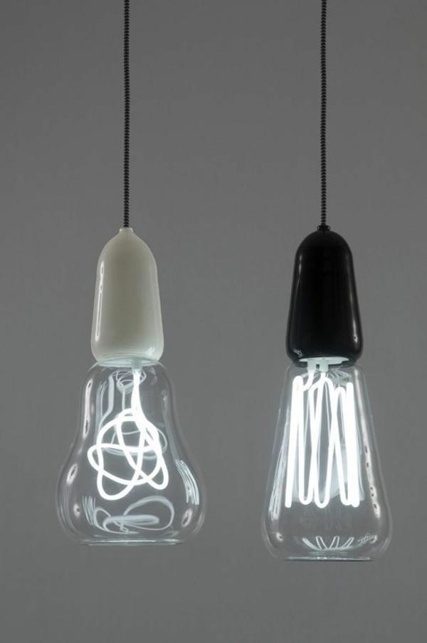 surrealistisch pendelleuchten led pendellampen glühbirnen formen