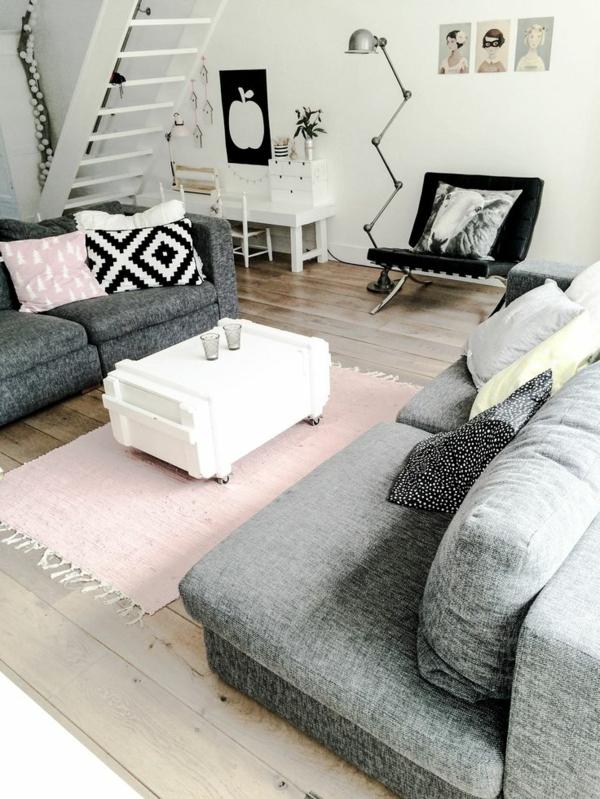 moderne wohnzimmergestaltung stylisch tipps rosa läufer