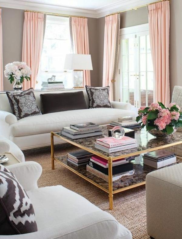 moderne wohnzimmergestaltung stylisch tipps seide gardinen